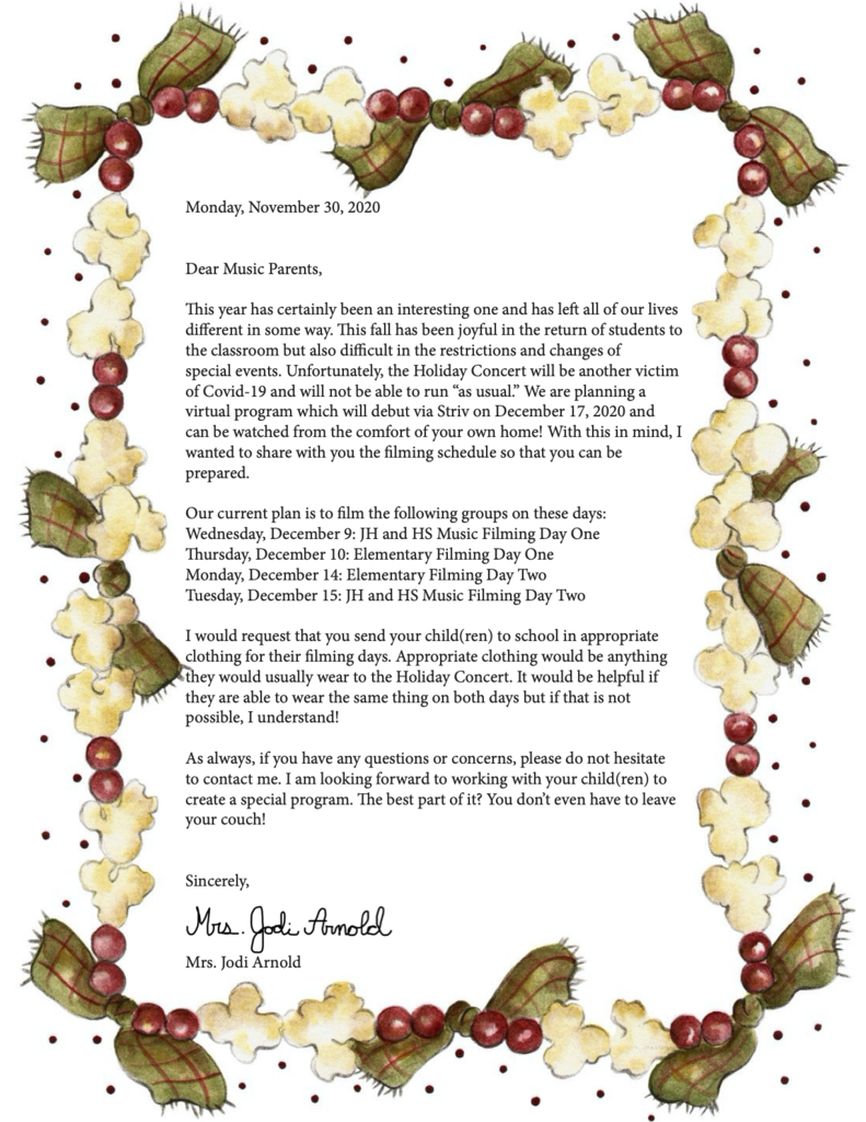 Holiday Concert Letter